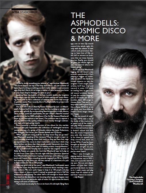 Asphodells DJ Times December 2013